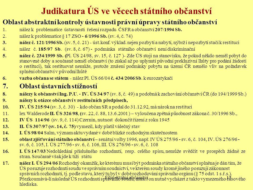 Filip-Státní občanství15 Judikatura ÚS ve věcech státního občanství Oblast abstraktní kontroly ústavnosti právní úpravy státního občanství 1.nález k p