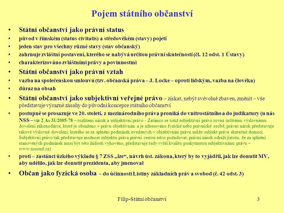 Filip-Státní občanství3 Pojem státního občanství Státní občanství jako právní status původ v římském (status civitatis) a středověkém (stavy) pojetí j