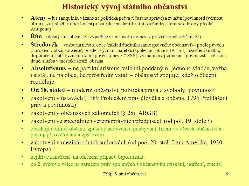 Filip-Státní občanství6 Historický vývoj státního občanství Atény – ius sanquinis, vázáno na politická práva (účast na správě) a zvláštní povinnosti (
