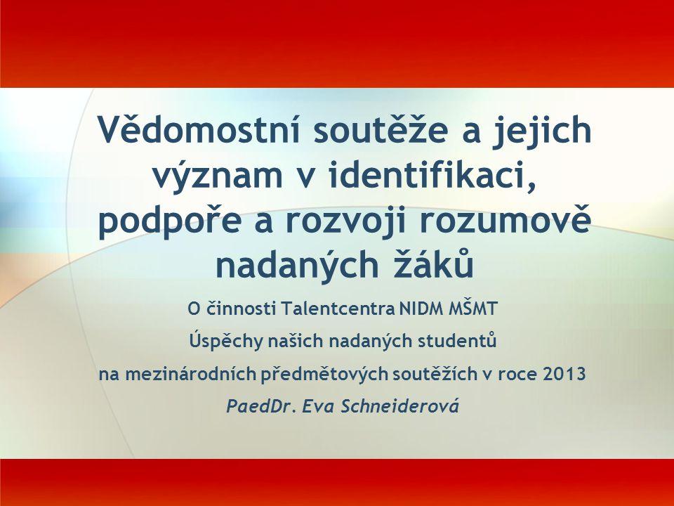 Vědomostní soutěže a jejich význam v identifikaci, podpoře a rozvoji rozumově nadaných žáků O činnosti Talentcentra NIDM MŠMT Úspěchy našich nadaných