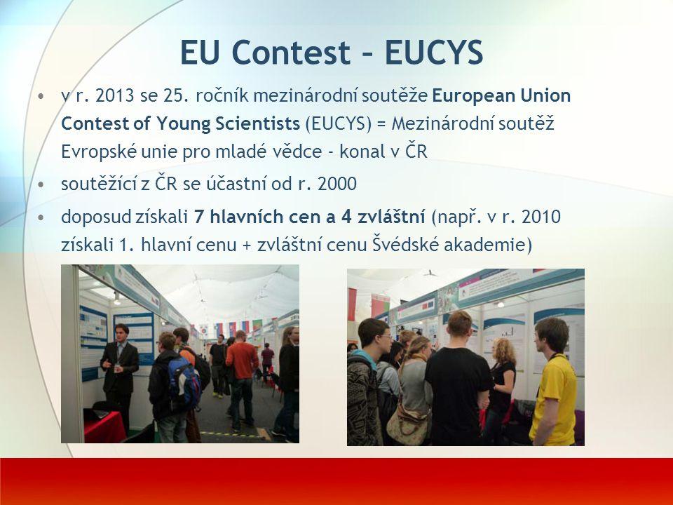 EU Contest – EUCYS v r. 2013 se 25. ročník mezinárodní soutěže European Union Contest of Young Scientists (EUCYS) = Mezinárodní soutěž Evropské unie p