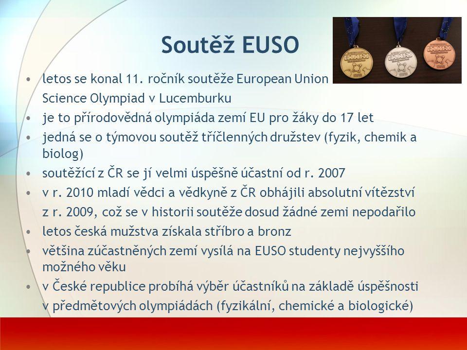 Soutěž EUSO letos se konal 11. ročník soutěže European Union Science Olympiad v Lucemburku je to přírodovědná olympiáda zemí EU pro žáky do 17 let jed