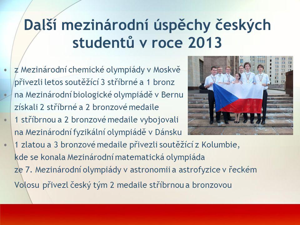 Další mezinárodní úspěchy českých studentů v roce 2013 z Mezinárodní chemické olympiády v Moskvě přivezli letos soutěžící 3 stříbrné a 1 bronz na Mezi