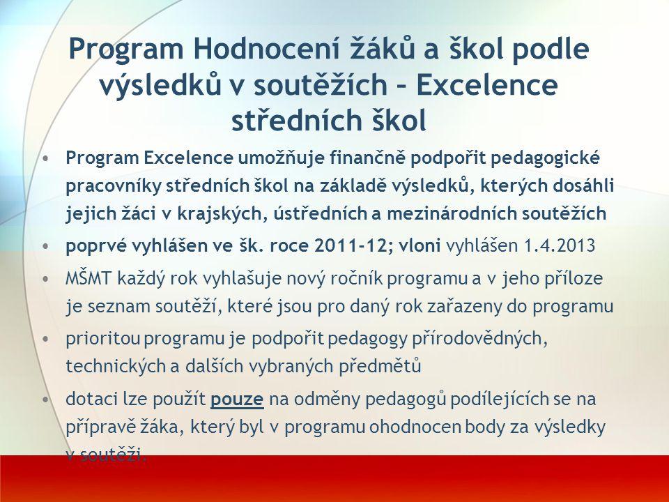 Program Excelence umožňuje finančně podpořit pedagogické pracovníky středních škol na základě výsledků, kterých dosáhli jejich žáci v krajských, ústře