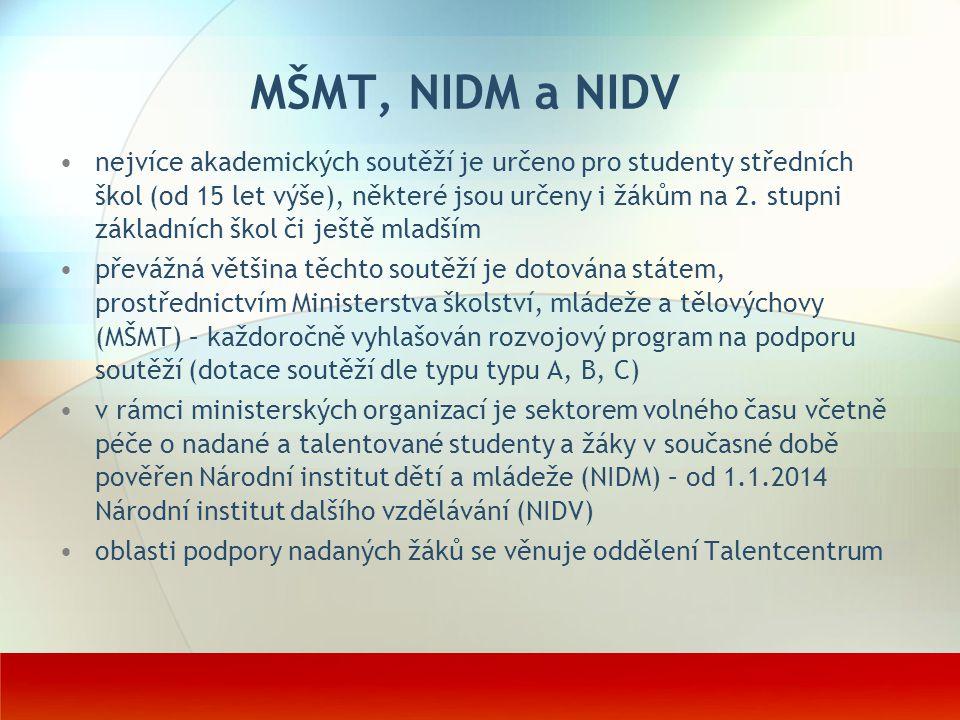 MŠMT, NIDM a NIDV nejvíce akademických soutěží je určeno pro studenty středních škol (od 15 let výše), některé jsou určeny i žákům na 2. stupni základ