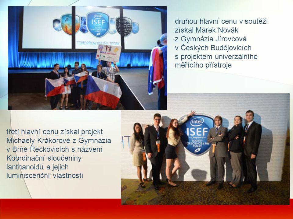 druhou hlavní cenu v soutěži získal Marek Novák z Gymnázia Jírovcová v Českých Budějovicích s projektem univerzálního měřícího přístroje třetí hlavní