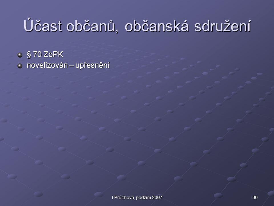 30I.Průchová, podzim 2007 Účast občanů, občanská sdružení § 70 ZoPK novelizován – upřesnění