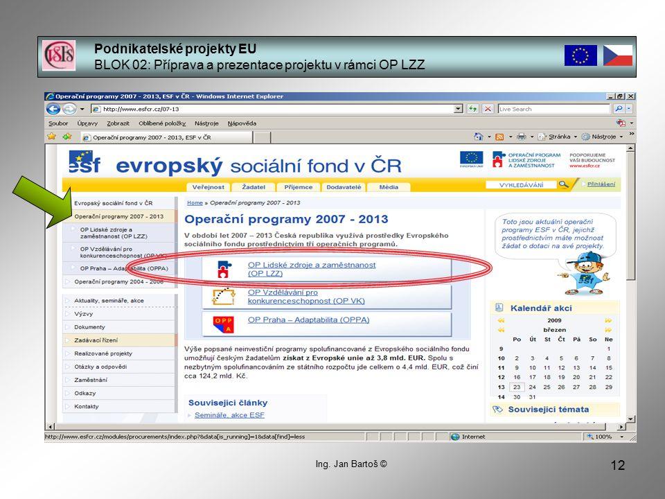 12 Podnikatelské projekty EU BLOK 02: Příprava a prezentace projektu v rámci OP LZZ Ing.