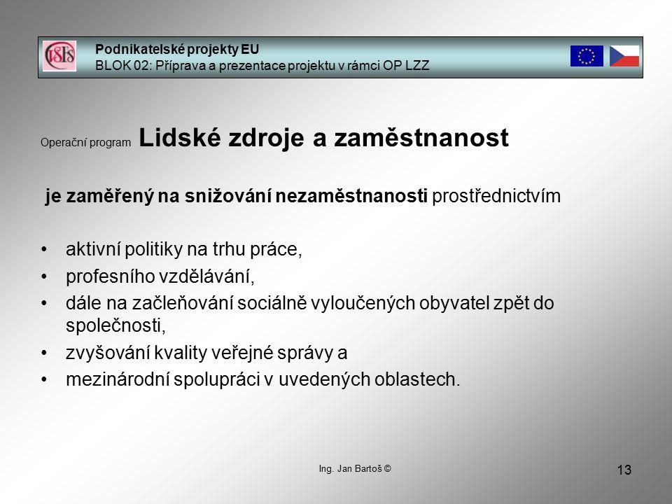 13 Podnikatelské projekty EU BLOK 02: Příprava a prezentace projektu v rámci OP LZZ Ing.