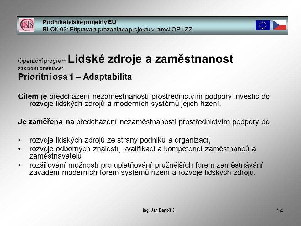 14 Podnikatelské projekty EU BLOK 02: Příprava a prezentace projektu v rámci OP LZZ Ing.