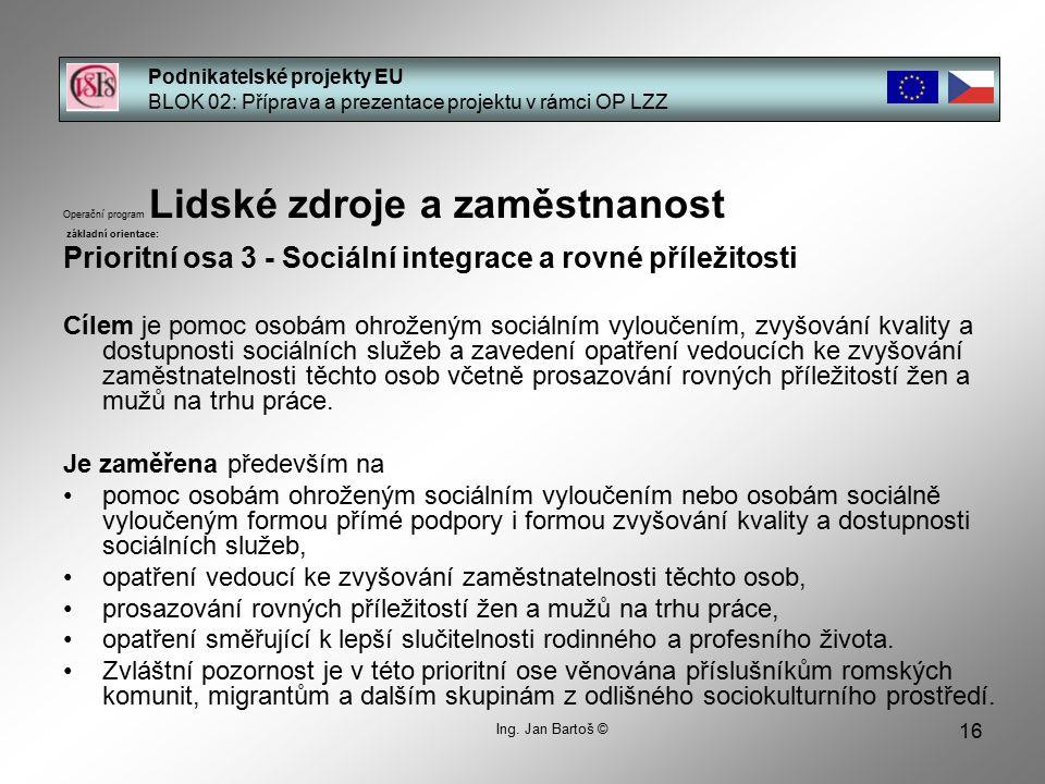 16 Podnikatelské projekty EU BLOK 02: Příprava a prezentace projektu v rámci OP LZZ Ing.