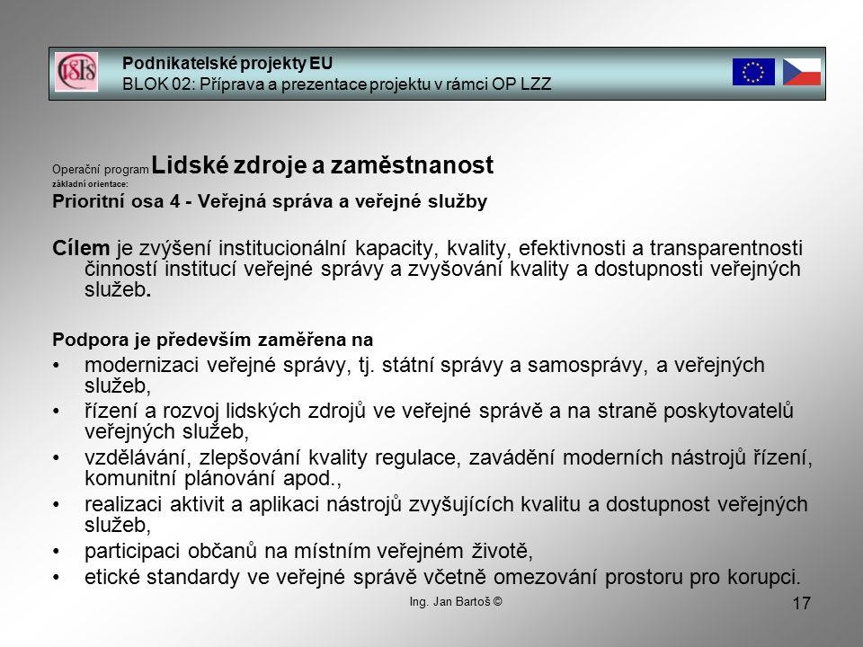 17 Podnikatelské projekty EU BLOK 02: Příprava a prezentace projektu v rámci OP LZZ Ing.