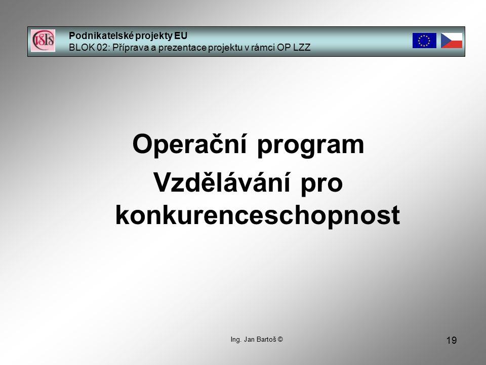 19 Podnikatelské projekty EU BLOK 02: Příprava a prezentace projektu v rámci OP LZZ Ing.