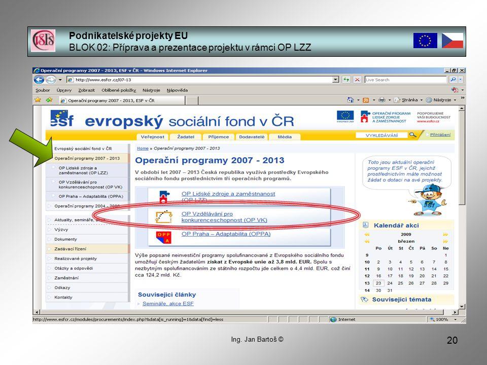 20 Podnikatelské projekty EU BLOK 02: Příprava a prezentace projektu v rámci OP LZZ Ing.