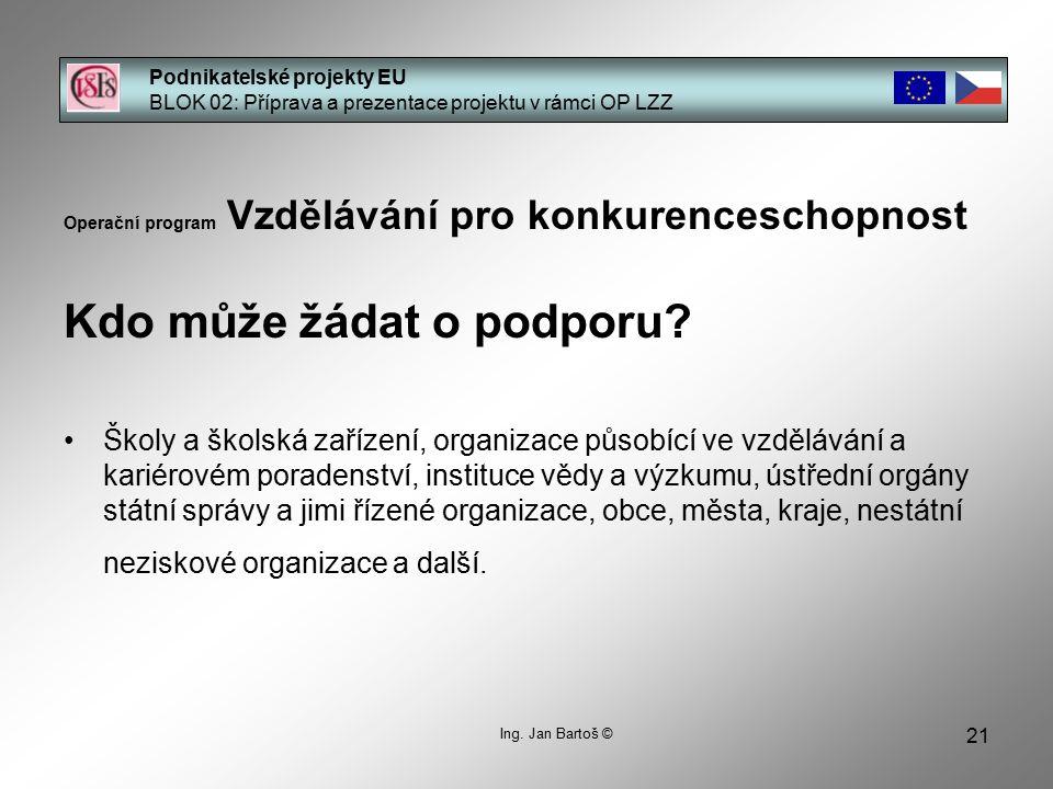 21 Podnikatelské projekty EU BLOK 02: Příprava a prezentace projektu v rámci OP LZZ Ing.