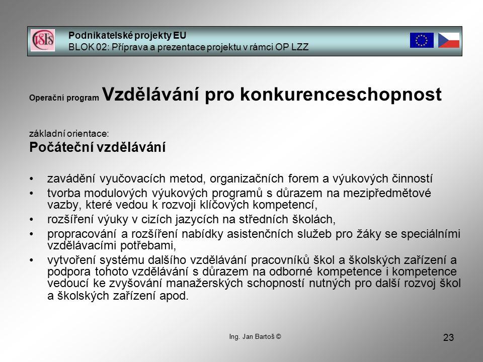 23 Podnikatelské projekty EU BLOK 02: Příprava a prezentace projektu v rámci OP LZZ Ing.