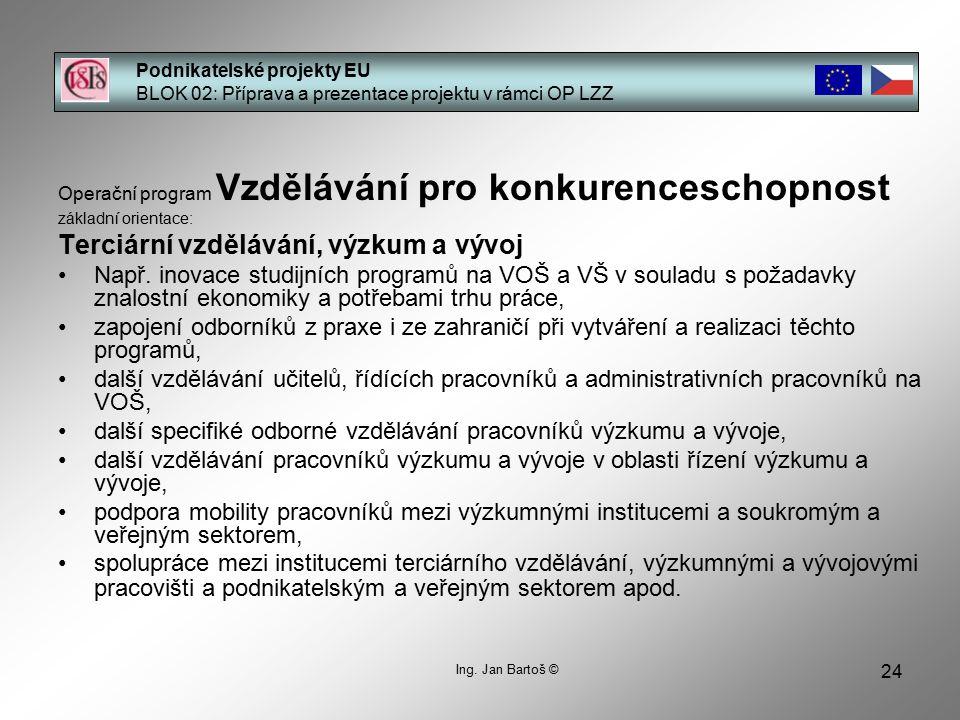 24 Podnikatelské projekty EU BLOK 02: Příprava a prezentace projektu v rámci OP LZZ Ing.