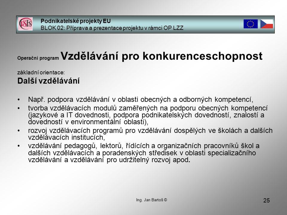 25 Podnikatelské projekty EU BLOK 02: Příprava a prezentace projektu v rámci OP LZZ Ing.