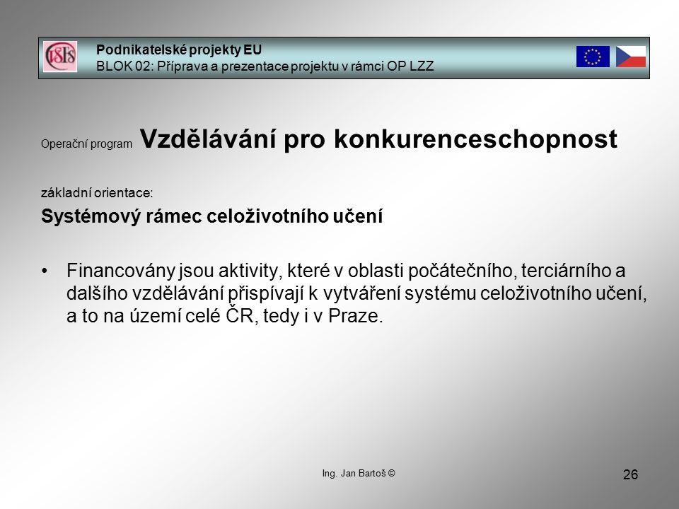 26 Podnikatelské projekty EU BLOK 02: Příprava a prezentace projektu v rámci OP LZZ Ing.