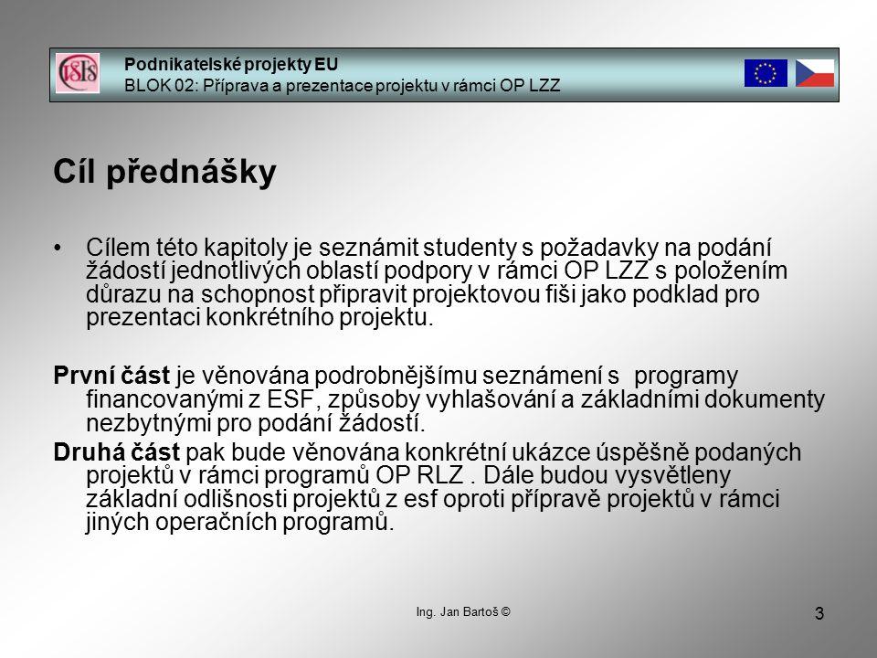 3 Podnikatelské projekty EU BLOK 02: Příprava a prezentace projektu v rámci OP LZZ Ing.