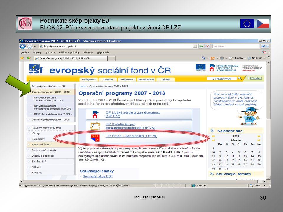 30 Podnikatelské projekty EU BLOK 02: Příprava a prezentace projektu v rámci OP LZZ Ing.