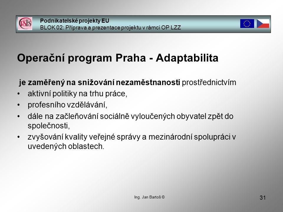 31 Podnikatelské projekty EU BLOK 02: Příprava a prezentace projektu v rámci OP LZZ Ing.
