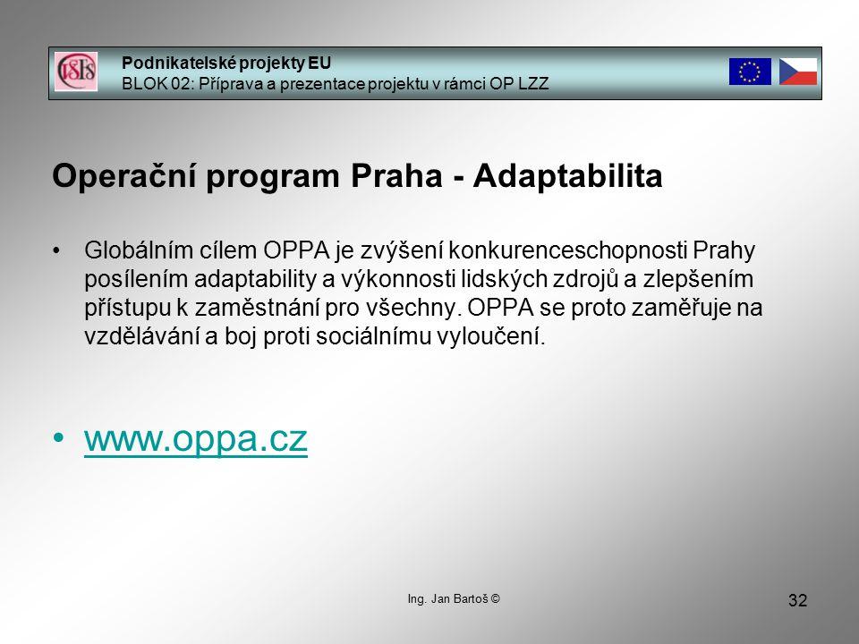 32 Podnikatelské projekty EU BLOK 02: Příprava a prezentace projektu v rámci OP LZZ Ing.
