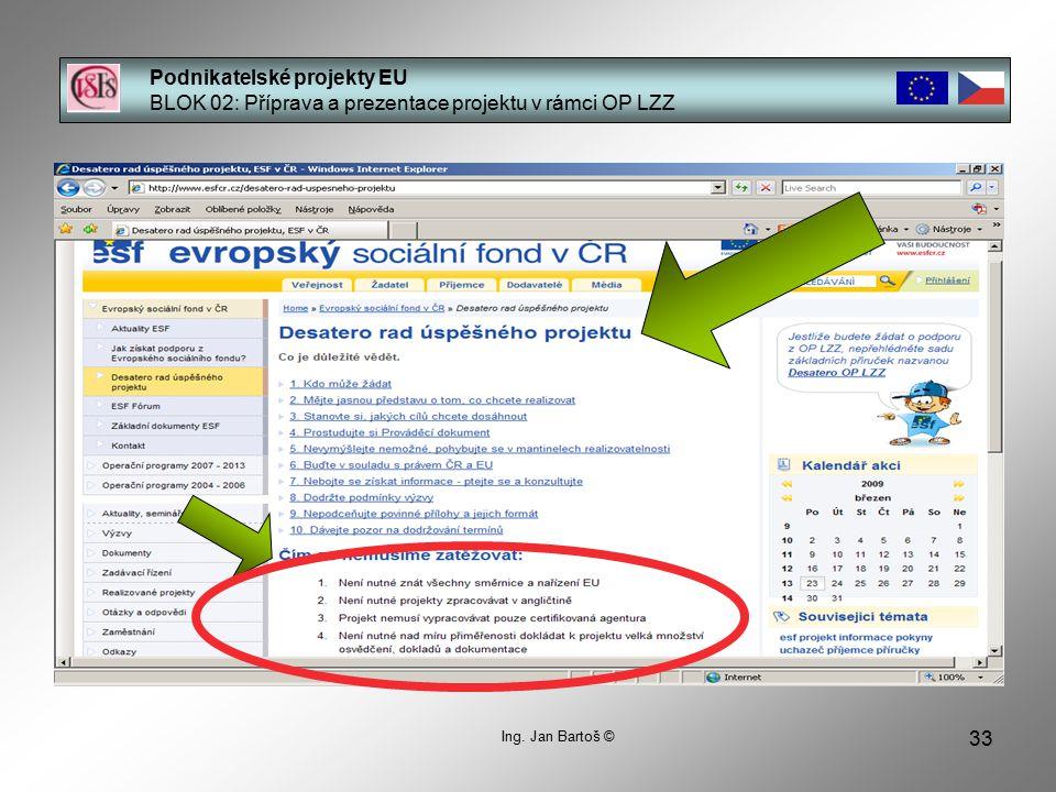 33 Podnikatelské projekty EU BLOK 02: Příprava a prezentace projektu v rámci OP LZZ Ing.