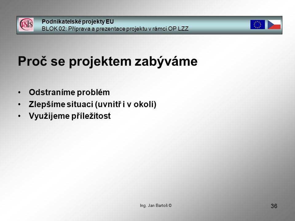 36 Podnikatelské projekty EU BLOK 02: Příprava a prezentace projektu v rámci OP LZZ Ing.