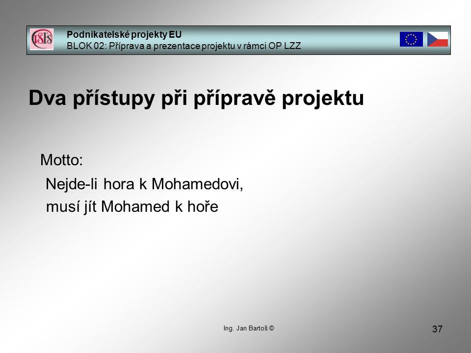 37 Podnikatelské projekty EU BLOK 02: Příprava a prezentace projektu v rámci OP LZZ Ing.
