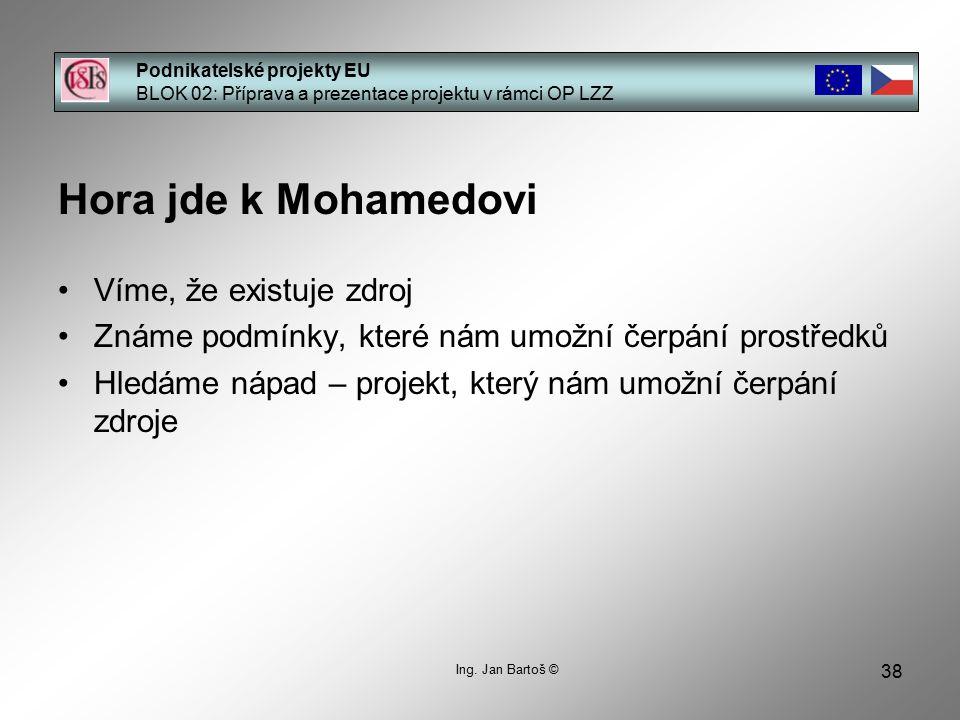 38 Podnikatelské projekty EU BLOK 02: Příprava a prezentace projektu v rámci OP LZZ Ing.