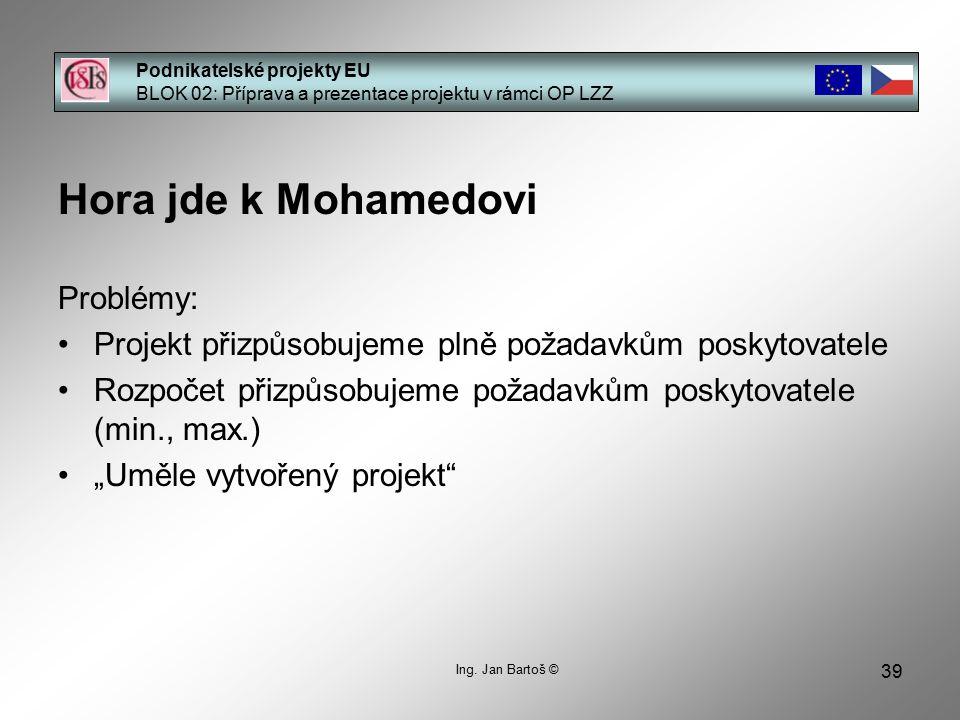 39 Podnikatelské projekty EU BLOK 02: Příprava a prezentace projektu v rámci OP LZZ Ing.
