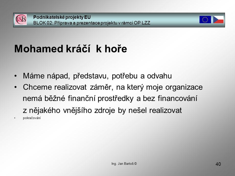 40 Podnikatelské projekty EU BLOK 02: Příprava a prezentace projektu v rámci OP LZZ Ing.