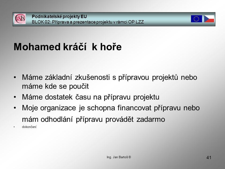 41 Podnikatelské projekty EU BLOK 02: Příprava a prezentace projektu v rámci OP LZZ Ing.