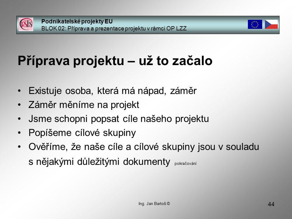 44 Podnikatelské projekty EU BLOK 02: Příprava a prezentace projektu v rámci OP LZZ Ing.