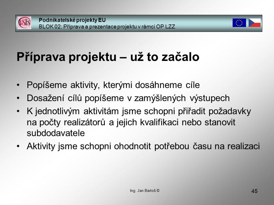 45 Podnikatelské projekty EU BLOK 02: Příprava a prezentace projektu v rámci OP LZZ Ing.
