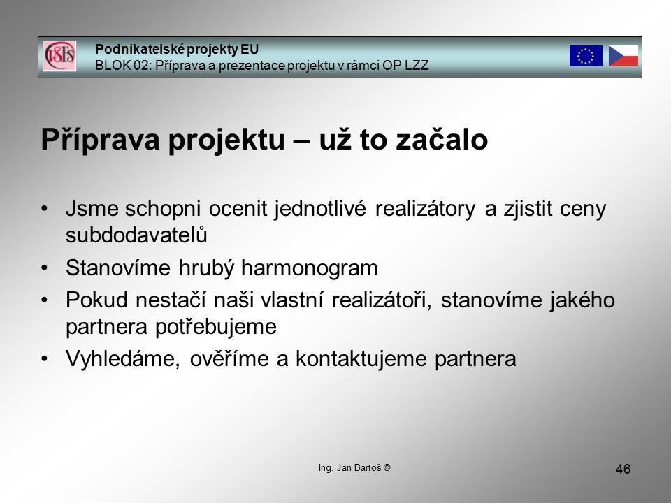 46 Podnikatelské projekty EU BLOK 02: Příprava a prezentace projektu v rámci OP LZZ Ing.