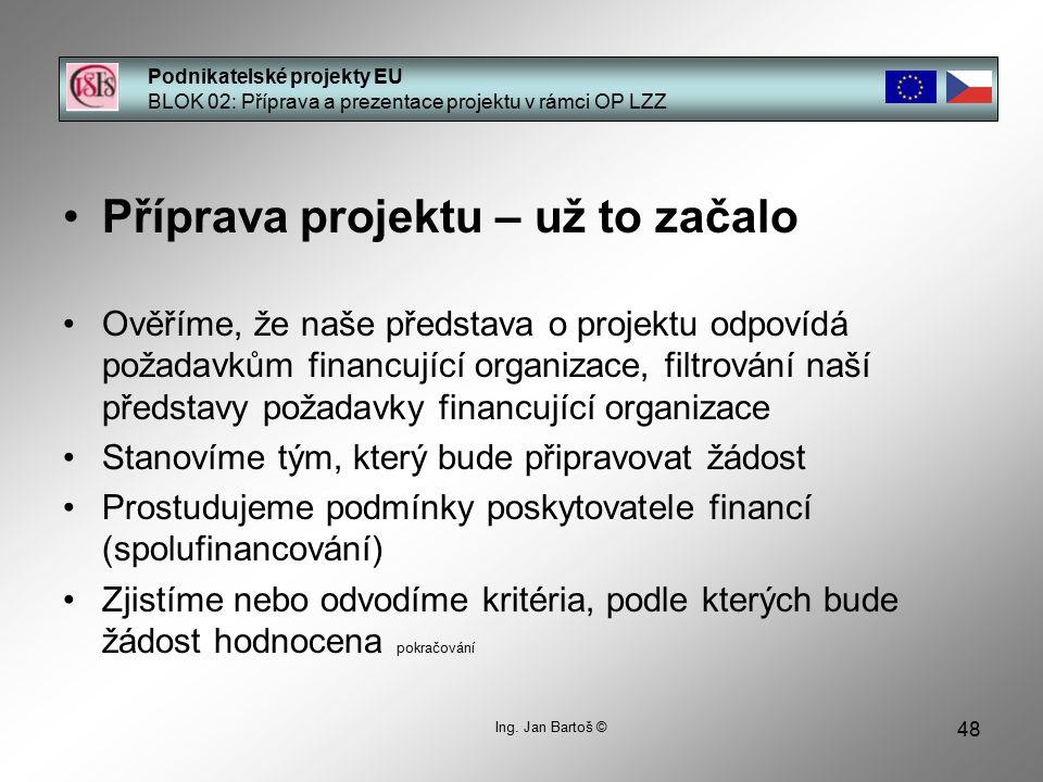 48 Podnikatelské projekty EU BLOK 02: Příprava a prezentace projektu v rámci OP LZZ Ing.