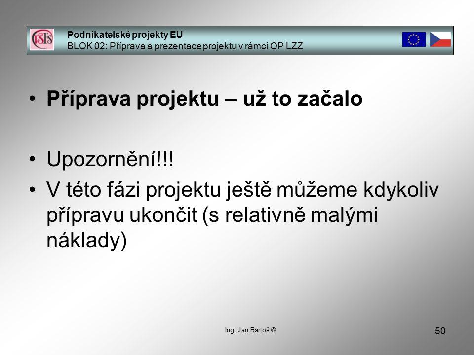 50 Podnikatelské projekty EU BLOK 02: Příprava a prezentace projektu v rámci OP LZZ Ing.