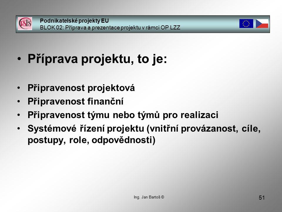 51 Podnikatelské projekty EU BLOK 02: Příprava a prezentace projektu v rámci OP LZZ Ing.