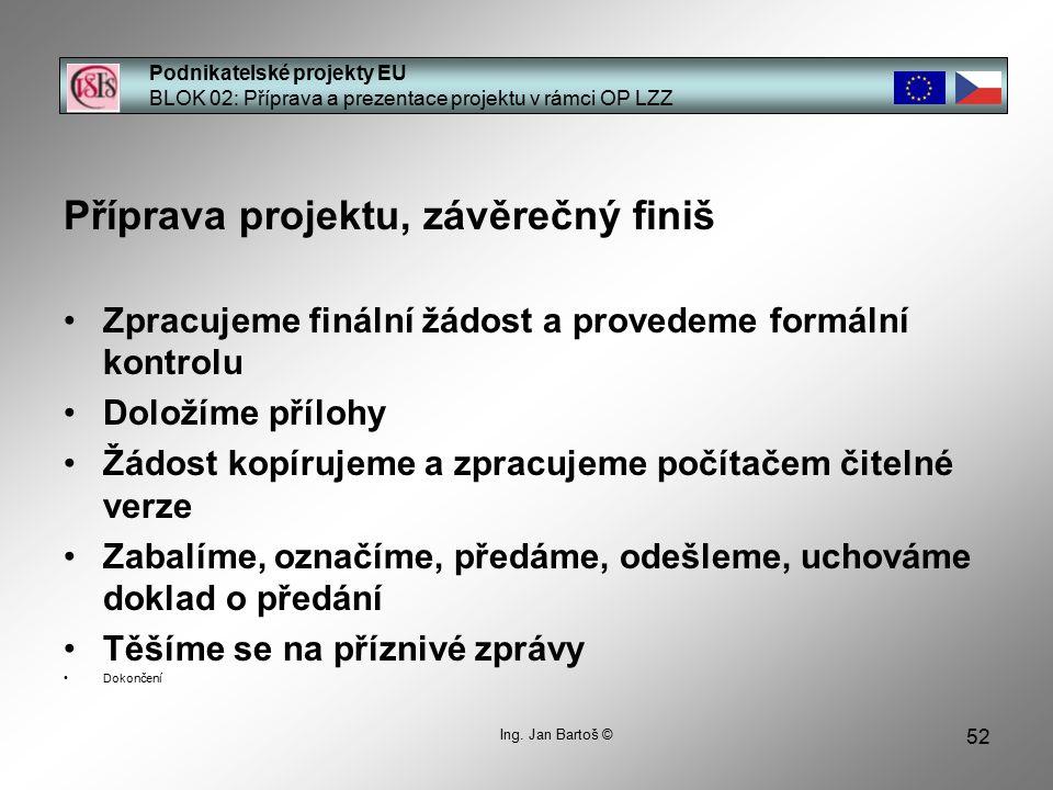 52 Podnikatelské projekty EU BLOK 02: Příprava a prezentace projektu v rámci OP LZZ Ing.