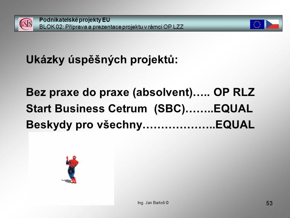 53 Podnikatelské projekty EU BLOK 02: Příprava a prezentace projektu v rámci OP LZZ Ukázky úspěšných projektů: Bez praxe do praxe (absolvent)…..