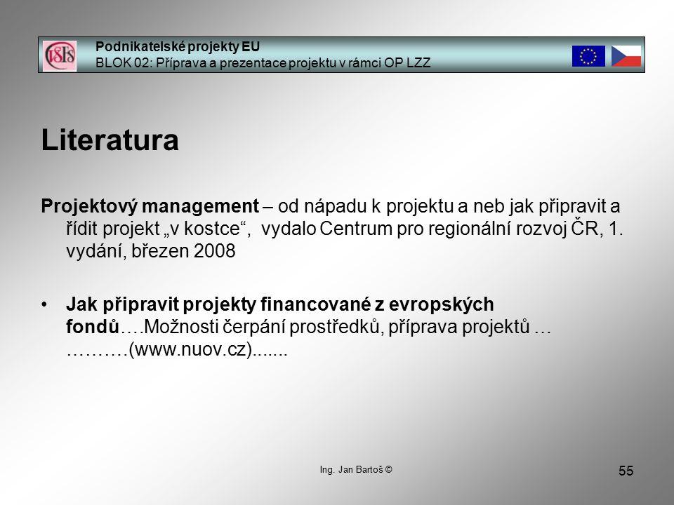 55 Podnikatelské projekty EU BLOK 02: Příprava a prezentace projektu v rámci OP LZZ Ing.