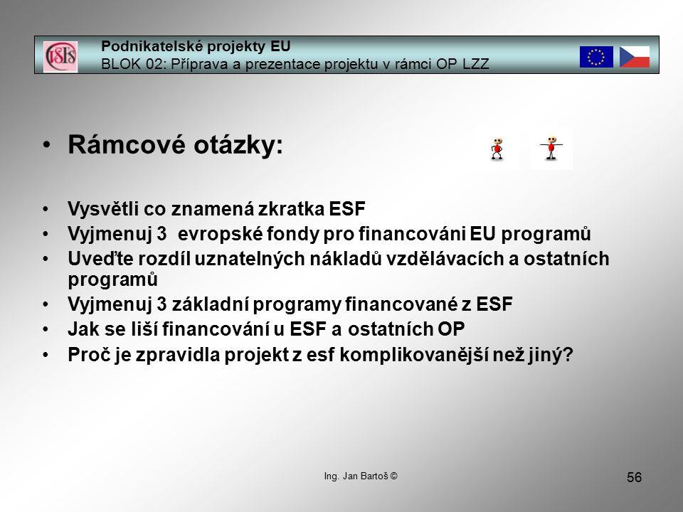 56 Podnikatelské projekty EU BLOK 02: Příprava a prezentace projektu v rámci OP LZZ Ing.