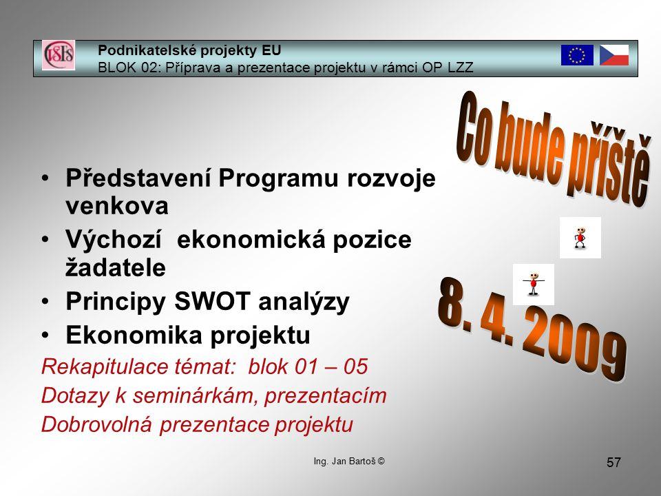 57 Podnikatelské projekty EU BLOK 02: Příprava a prezentace projektu v rámci OP LZZ Ing.