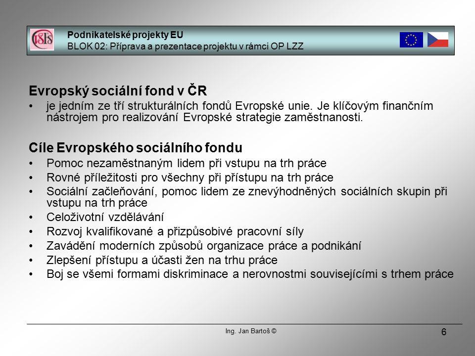 6 Evropský sociální fond v ČR je jedním ze tří strukturálních fondů Evropské unie.