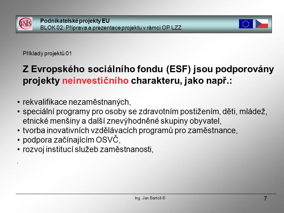 7 Příklady projektů 01 Z Evropského sociálního fondu (ESF) jsou podporovány projekty neinvestičního charakteru, jako např.: rekvalifikace nezaměstnaných, speciální programy pro osoby se zdravotním postižením, děti, mládež, etnické menšiny a další znevýhodněné skupiny obyvatel, tvorba inovativních vzdělávacích programů pro zaměstnance, podpora začínajícím OSVČ, rozvoj institucí služeb zaměstnanosti, Podnikatelské projekty EU BLOK 02: Příprava a prezentace projektu v rámci OP LZZ Ing.