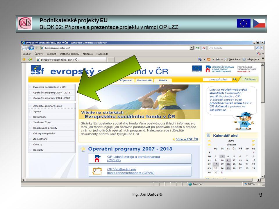 9 Podnikatelské projekty EU BLOK 02: Příprava a prezentace projektu v rámci OP LZZ Ing.