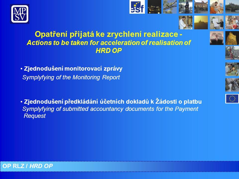 Opatření přijatá ke zrychlení realizace - Actions to be taken for acceleration of realisation of HRD OP Zjednodušení monitorovací zprávy Symplyfying o