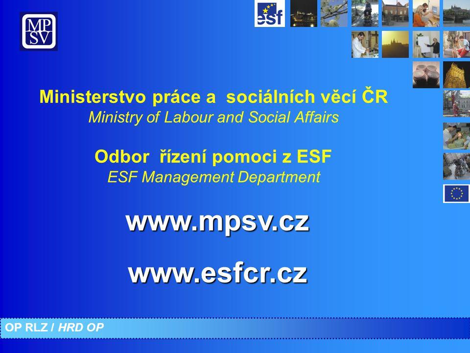 Ministerstvo práce a sociálních věcí ČR Ministry of Labour and Social Affairs Odbor řízení pomoci z ESF ESF Management Department www.mpsv.czwww.esfcr